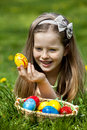 Child find easter egg outdoor happy Royalty Free Stock Photos