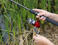 Child fishing reel Royalty Free Stock Image