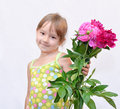 Child and flowerses Royalty Free Stock Image