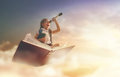 Child flying on the book Royalty Free Stock Photo