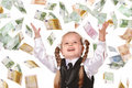Child with flying money.