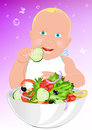 Child fresh vegetable salad Royalty Free Stock Photos