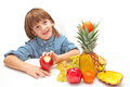 Title: Child with fruits food