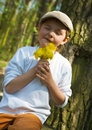 Child gathers flowers Royalty Free Stock Photography