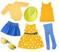 Child girl bright summer clothes isolated. Royalty Free Stock Photo