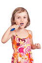 Child girl clean brush teeth Stock Photography