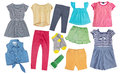 Child girl cotton bright summer clothes set collage isolated. Royalty Free Stock Photo