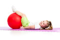 Child girl doing fitness exercise with fitness Royalty Free Stock Photo