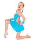Child girl doing fitness exercises isolated on white background Stock Photography