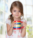 Child girl drink mug morning tea healthy lifestyle. Royalty Free Stock Photo