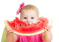Child girl eating watermelon Stock Image