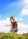 Child girl enjoy the sunshine Stock Photos