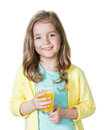 Child girl holding glass orange juice isolated on white. Royalty Free Stock Photo