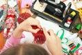 Child girl knit, hand closeup, handmade and handicraft concept