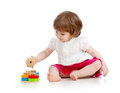Child girl playing with educational toy Stock Photos