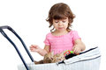 Child girl playing with kittens Royalty Free Stock Photography