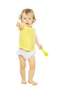 Child girl pointing finger hand forward. Kid white isolated Royalty Free Stock Photo