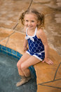 Child girl pool swimsuit Royalty Free Stock Photo