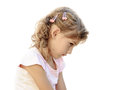 Child girl portrait angry sad Royalty Free Stock Photo