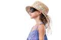 Child girl sunglasses hat summer isolated Royalty Free Stock Images