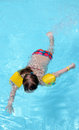 Child girl swimming in the pool Royalty Free Stock Images