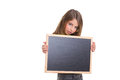 Child girl with white frame copy space black blackboard Royalty Free Stock Photos
