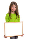 Child girl with white frame copy space white blackboard Stock Images