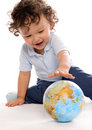Child with globe. Royalty Free Stock Photo