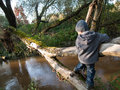 Child goes on a log the background of the river Royalty Free Stock Image