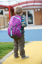 Child going to school wearing backpack boy Stock Image