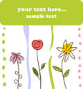 Child green gift card flower background Stock Image