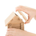 Child hands build a house Royalty Free Stock Photo