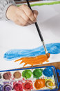 Child hands painting close up photo Royalty Free Stock Photography