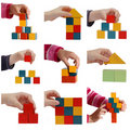 Child hands playing with colored blocks collage Royalty Free Stock Photo