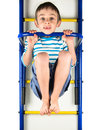 Child hanging on a horizontal bar white background Stock Photo