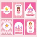 Child happy birthday and princess party pink invitation vector template Royalty Free Stock Photo
