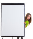Child happy girl with blank flip chart white copy space Stock Images