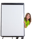 Child happy girl with blank flip chart white copy space Royalty Free Stock Photography