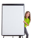 Child happy girl with blank flip chart white copy space Royalty Free Stock Images