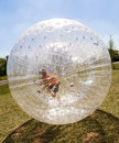 Child has fun in the zorbing ball a lot of Royalty Free Stock Photography