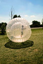 Child has a lot of fun in the zorbing ball Royalty Free Stock Images