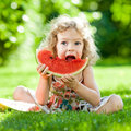 Child having picnic in park Stock Photo