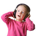 Child with headset Stock Images