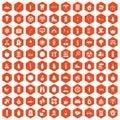 100 child health icons hexagon orange