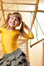 Child at her home sports equipment Stock Images