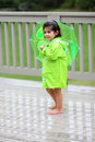 Child and her rain gears Royalty Free Stock Photography