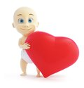 Child holding a big red sign heart Royalty Free Stock Images