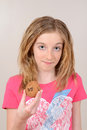 Child holding chocolate chip cookie Stock Images