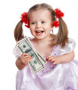 Child holding dollar money. Royalty Free Stock Photo