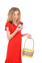Child holding easter egg and basket Stock Photography